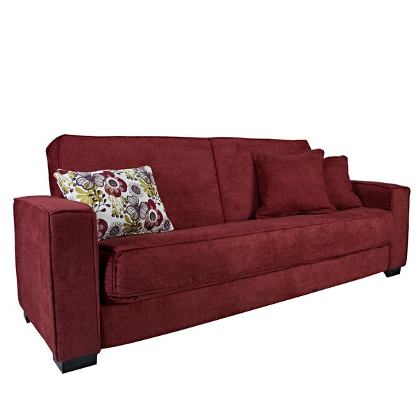Better Living Gilda Red Velvet Convert-a-Couch Sofa Sleeper