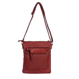 Diophy Soft Wash Double Zipper Crossbody Messenger Handbag