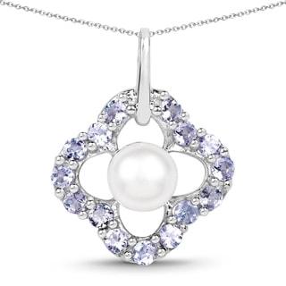 Malaika Sterling Silver 1 1/5ct Tanzanite and Pearl Necklace