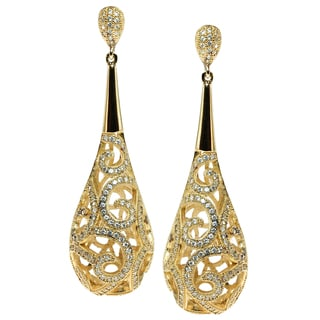 Michael Valitutti Sterling Silver Gold Plated Cubic Zirconia Filagree Drop Earrings
