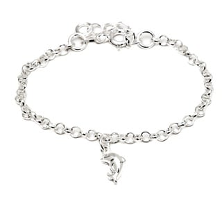 Pori Italian Sterling Silver Children's Dangle Dolphin Charm Rolo Chain Bracelet