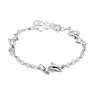 Pori Italian Sterling Silver Children's 3-dolphin Rolo Chain Bracelet