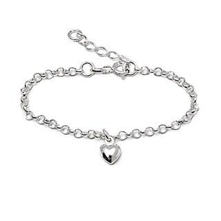 Italian Sterling Silver Children's Dangle Heart Charm Rolo Chain Bracelet