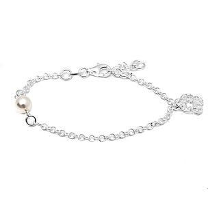 Italian Sterling Silver Children's Pearl and Filigree Flower Charm Rolo Chain Bracelet