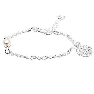Italian Sterling Silver Children's Pearl and Filigree Heart Charm Rolo Chain Bracelet