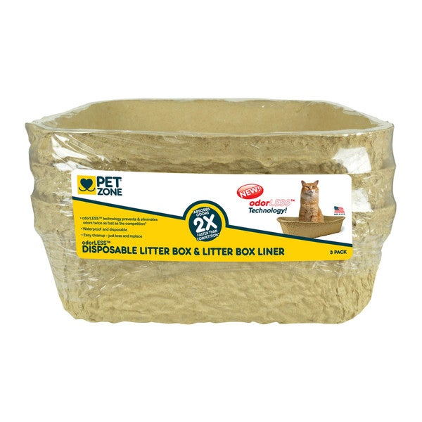 Pet Zone odorLESS Disposable Litter Box (Pack of 3)