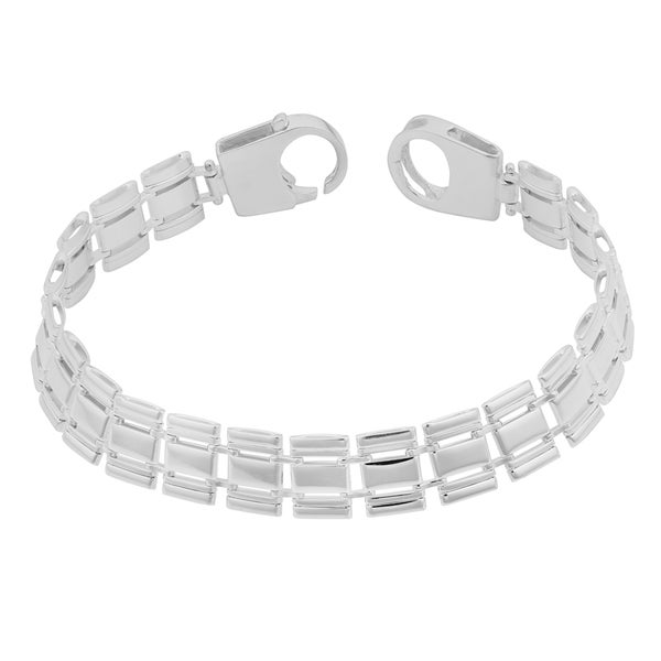 Argento Italia Sterling Silver Italian Fancy Rail Link Bracelet (7.75 inches)