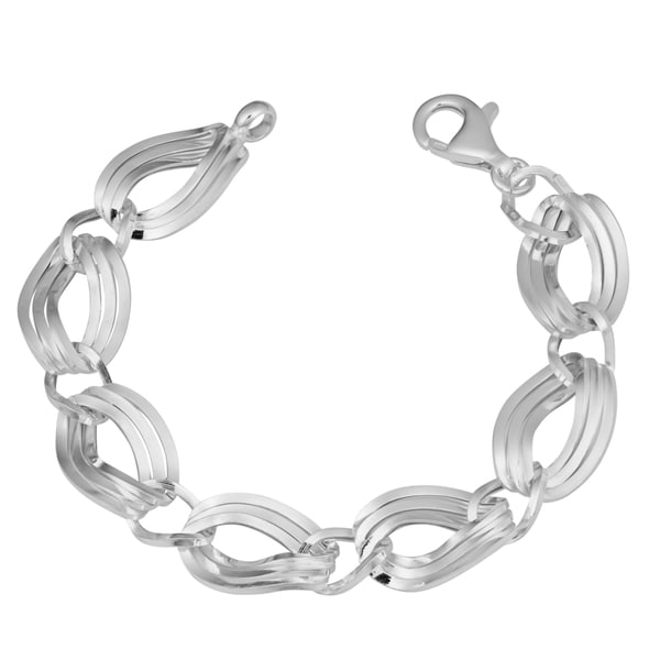 Argento Italia Sterling Silver Italian Triple Twist Oval Link Bracelet (7.5 inches)