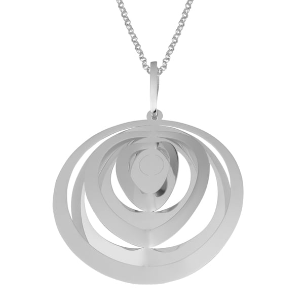 Argento Italia Sterling Silver Italian Round Wind Chime Design Pendant on Adjustable Rolo Chain Necklace