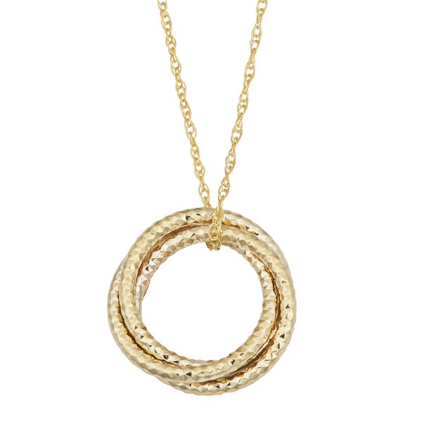 Fremada 10k Yellow Gold Diamond-cut Love Knot Pendant on Rope Chain