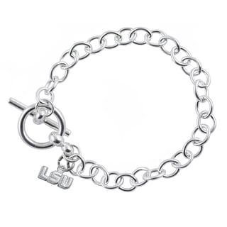 LSU Sterling Silver Link Bracelet
