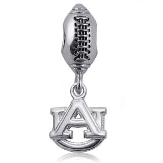Auburn Sterling Silver Football Charm Bead