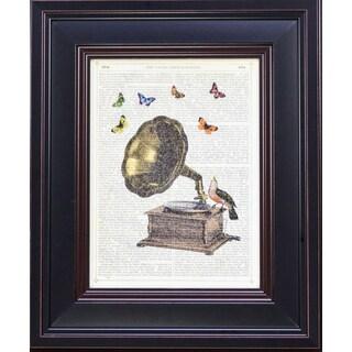 McConoghie 'Gramophone, Bird and Butterflies' Framed Art Print