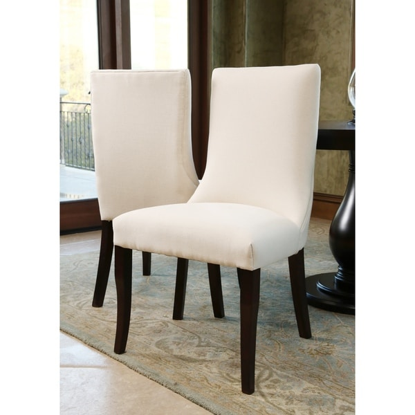 Abbyson Living Ibiza Ivory Linen Dining Chairs (Set of 2)