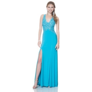 Bari Jay Women's Lace Bodice Halter Sheath Formal Dress