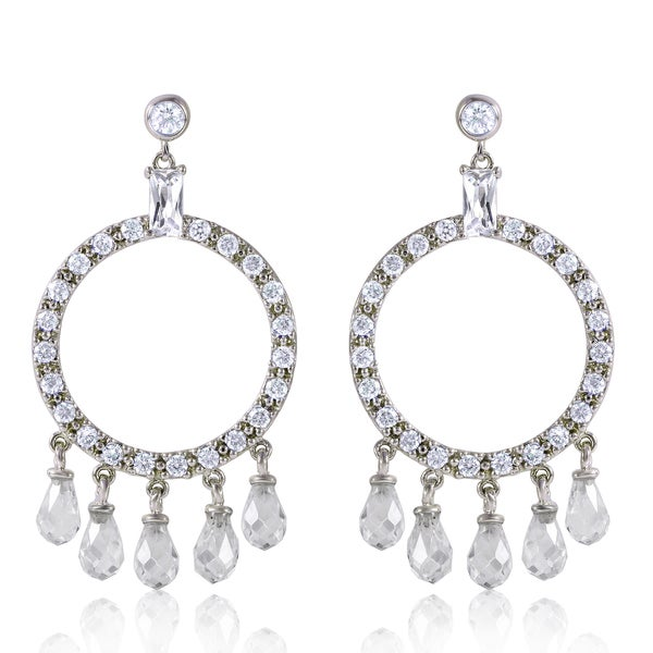 Rhodium-plated Sterling Silver White Cubic Zirconia Circle Drop Earrings
