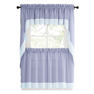 Blue Country Style Kitchen Curtains with White Daisy-Lace Accent