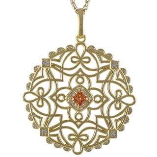 Gold Finish Champagne Cubic Zirconia Celtic Circle Pendant Necklace