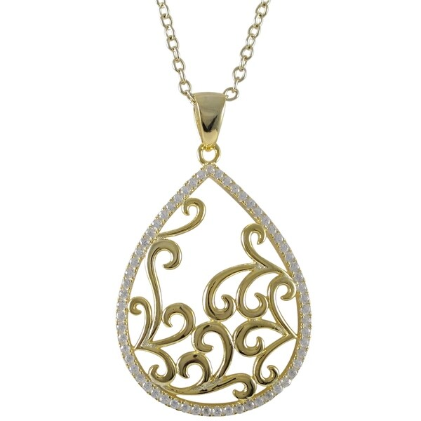 Sterling Silver Gold Finish Cubic Zirconia Filigree Teardrop Pendant Necklace