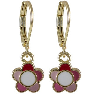 Gold Finish Children's Multi-color Enamel Flower Leverback Dangle Earrings