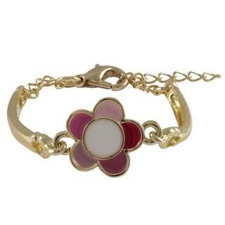 Gold Finish Children's Multi-color Enamel Flower Bangle Bracelet
