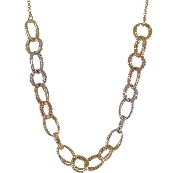 Gold Finish Tri-color Linked Circles Necklace