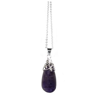 Queenberry Sterling Silver Genuine Amethyst Teardrop Pendant with Sterling Silver Chain Necklace