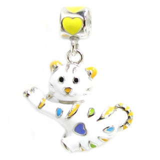 Queenberry Sterling Silver White Cat with Heart Enamel Dangle European Bead Charm