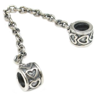 Queenberry Sterling Silver Infinity Heart 'Lots of Love' European Bead Charm Stopper Safety Chain
