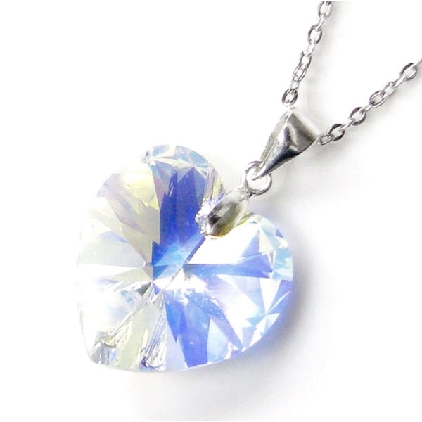 Queenberry Swarovski Elements Crystal Heart Clear Aurora Borealis Pendant with Sterling Silver Chain Necklace