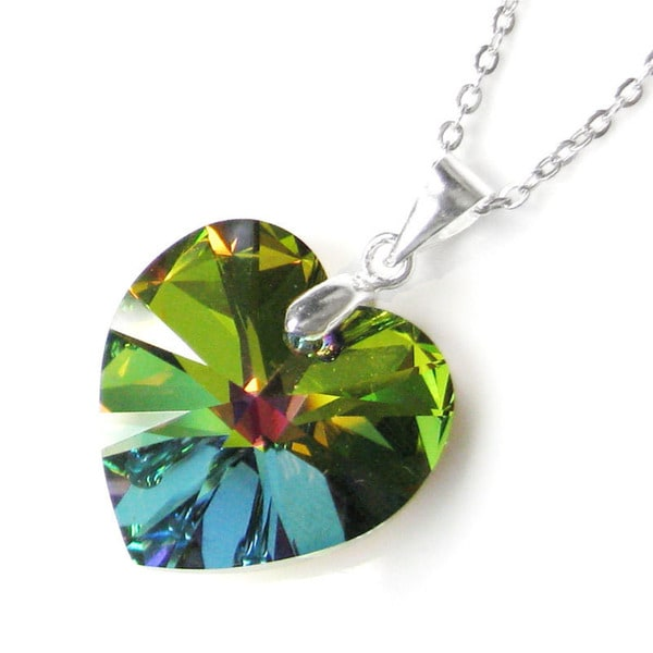 Queenberry Swarovski Elements Crystal Heart Vitrial Medium Green Pendant with Sterling Silver Chain Necklace