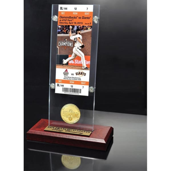 San Francisco Giants 2014 World Series Champions 'Ring Ceremony' Ticket and Bronze Coin Acrylic Desk Top