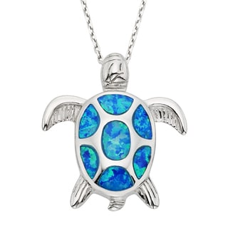 La Preciosa Sterling Silver Opal Turtle Pendant
