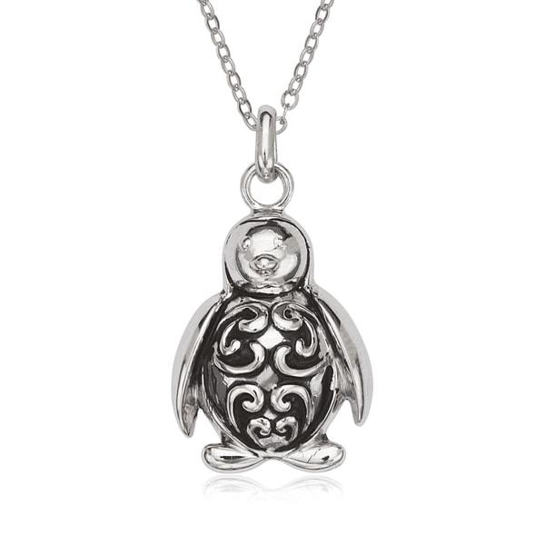 La Preciosa Sterling Silver Oxidized Penguin Pendant