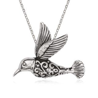 La Preciosa Sterling Silver Oxidized Hummingbird Pendant