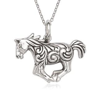La Preciosa Sterling Silver Oxidized Galloping Horse Pendant