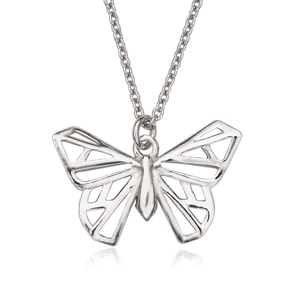 La Preciosa Sterling Silver Origami Butterfly Necklace