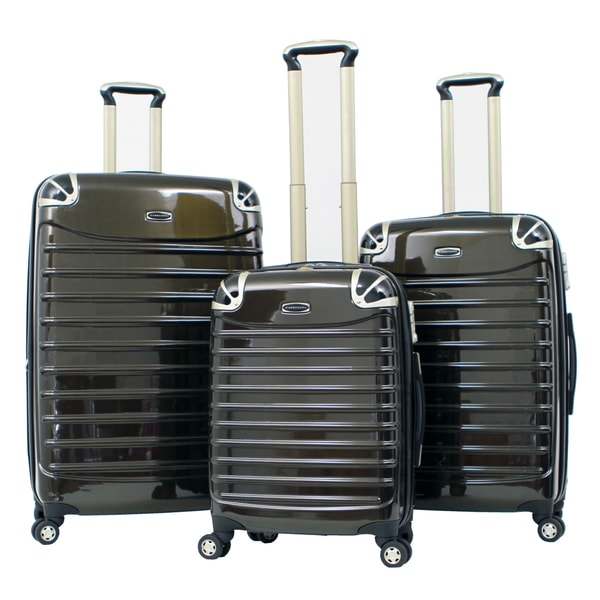Gabbiano Vintage Polycarbonate 3-piece Black Expandable Hardside Spinner Set