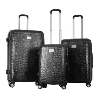 Gabbiano Crocs Polycarbonate 3-piece Black Expandable Hardside Spinner Set