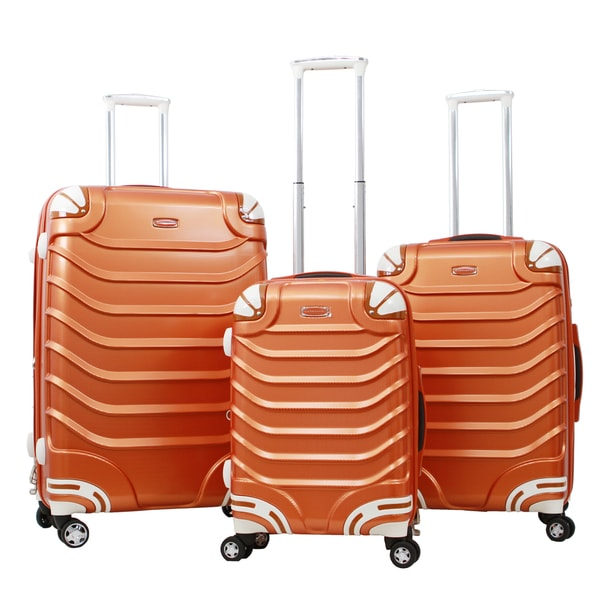 Gabbiano Exotic Polycarbonate 3-piece Golden Expandable Hardside Spinner Set