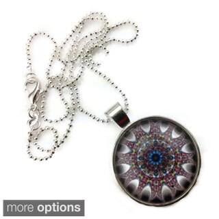 Mama Designs Handmade Purple Glass Dome Necklace