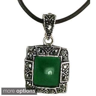 Mama Designs Jade Faux Marcasite and Hemitite Unique Rectagular Pendant Necklace