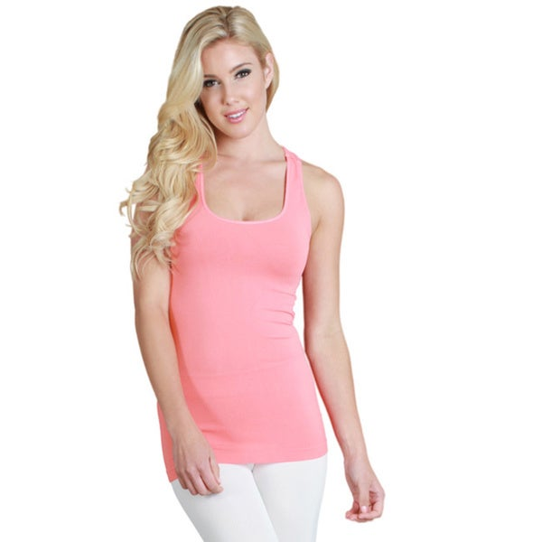 Nikibiki Women's Seamless Solid Jersey Colors Racer Back Tank Top