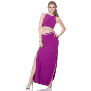 Bari Jay Women's Cropped Top Embellished Sleeveless Gown