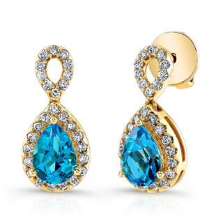 Estie G 18K Yellow Gold Swiss Blue Topaz & Diamond Drop Earrings