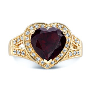 Estie G 14K Yellow Gold Garnet Heart Shaped Ring