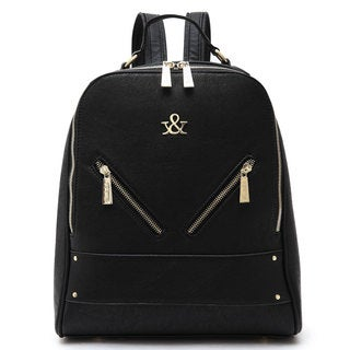 Hue & Ash Faux Leather Logo Backpack