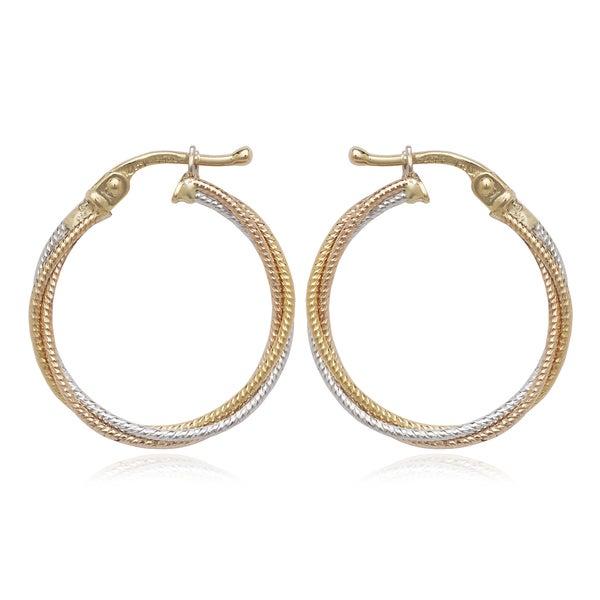10k Tri-color Sparkle Intertwining Hoop Earrings