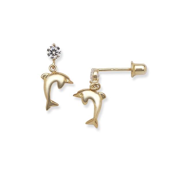 14k Gold Cubic Zirconia Drop Dolphin Screw-back Earrings