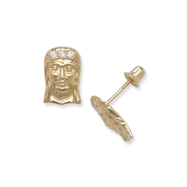 14k Yellow Gold Cubic Zirconia Jesus Head Screw-back Earrings